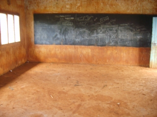 Sunday school room with floor filled and walls plaster